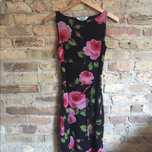 Beautiful feminine hourglass rose petal mesh dress
